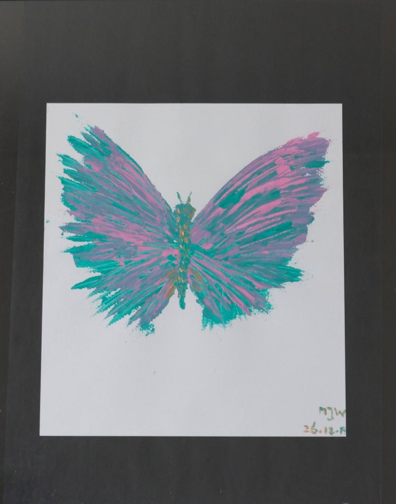 """'Vlinder"""", acryl op papier, ingelijst 41 x 51 cm, 50,00"""