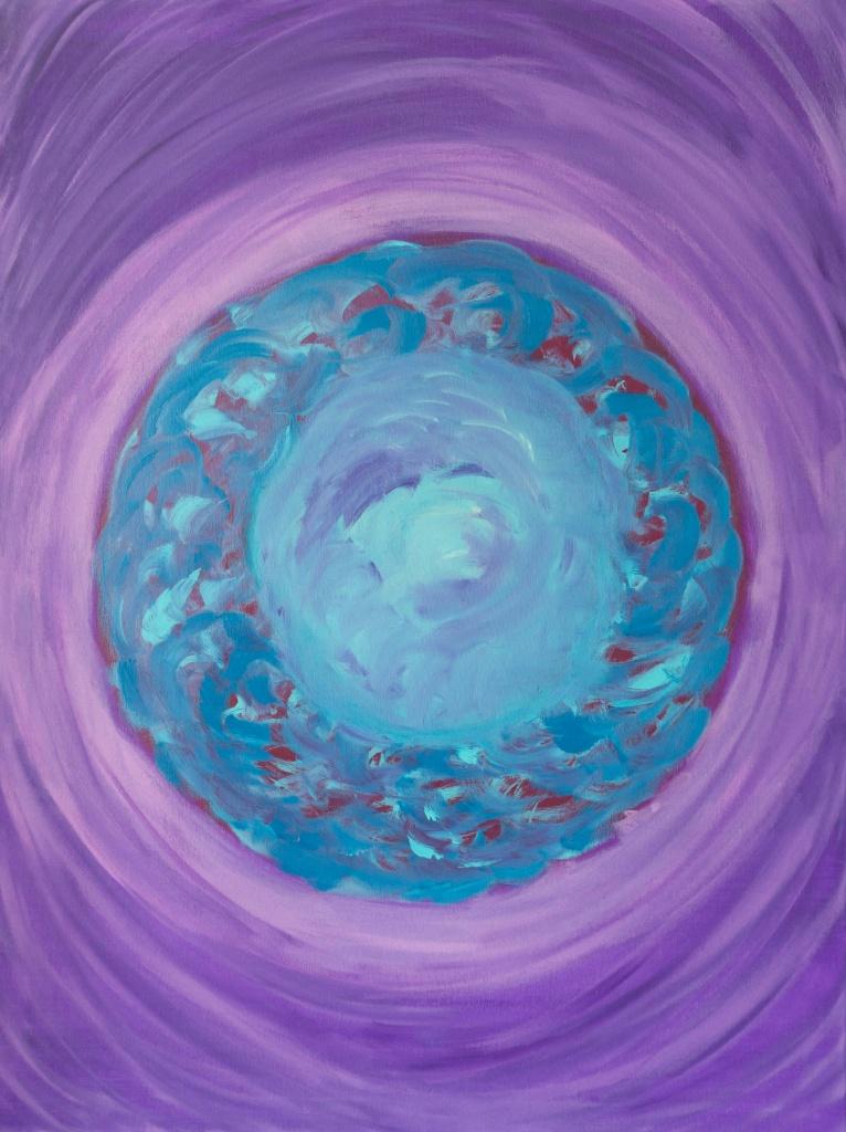 'Ontvangst', acryl op doek, 60 x 80 cm, aanbieding € 50,00, raamwerk is iets krom