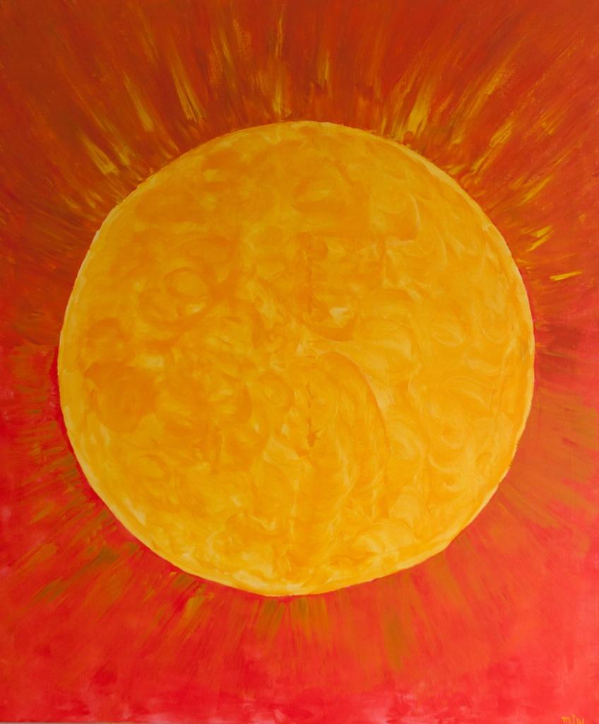 'De Zon', acryl op doek, 100 x 120 cm, € 475,00