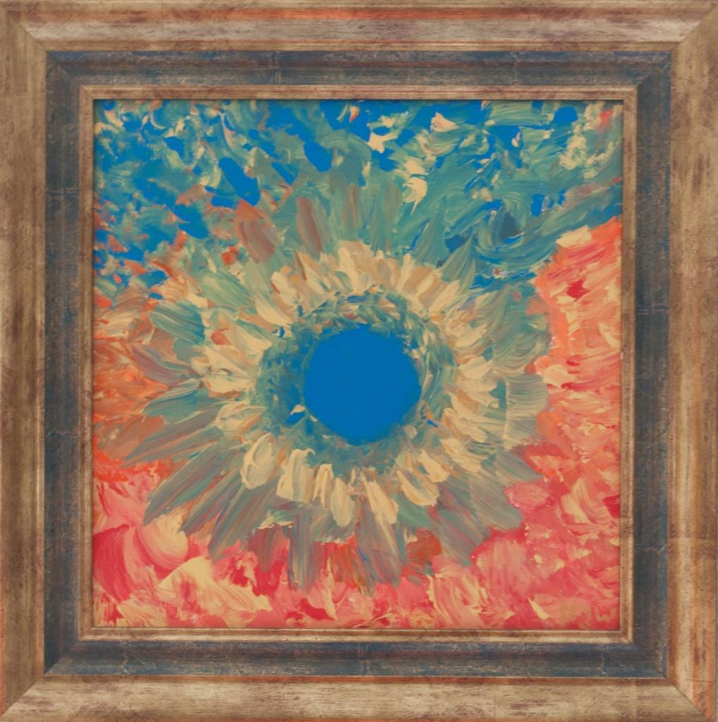 'Zonneschijn', acryl op doek, ingelijst, 40 x 40 cm, € 275,00